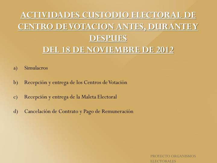 ACTIVIDADES CUSTODIO ELECTORAL DE CENTRO DE VOTACION ANTES, DURANTE Y DESPUES