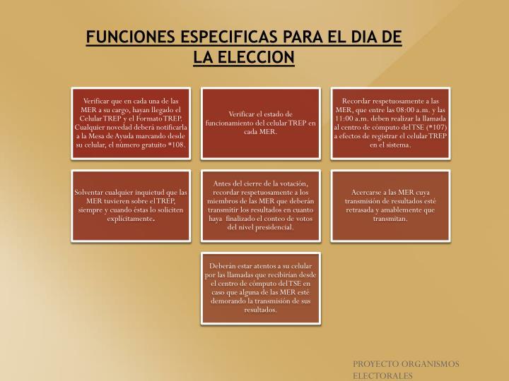 FUNCIONES ESPECIFICAS PARA EL DIA DE LA ELECCION