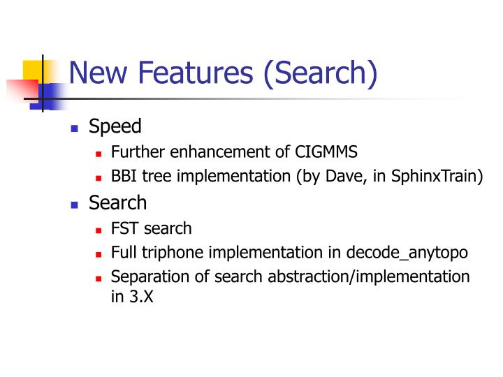New Features (Search)