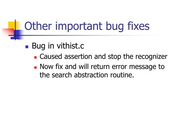 Other important bug fixes