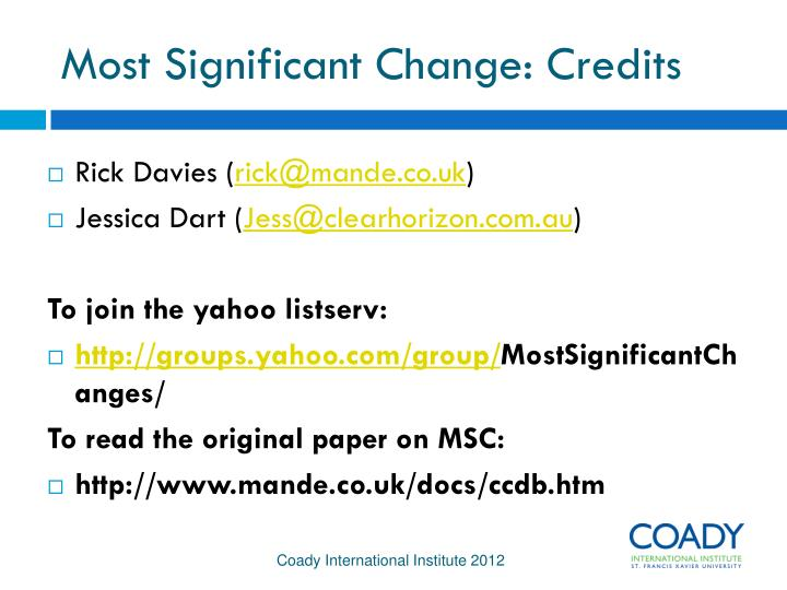 Most Significant Change: Credits