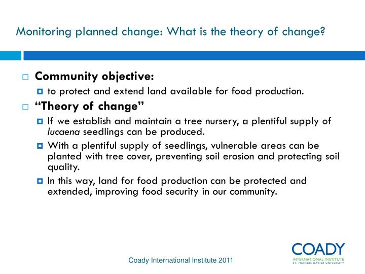 Monitoring planned change: What is the theory of change?