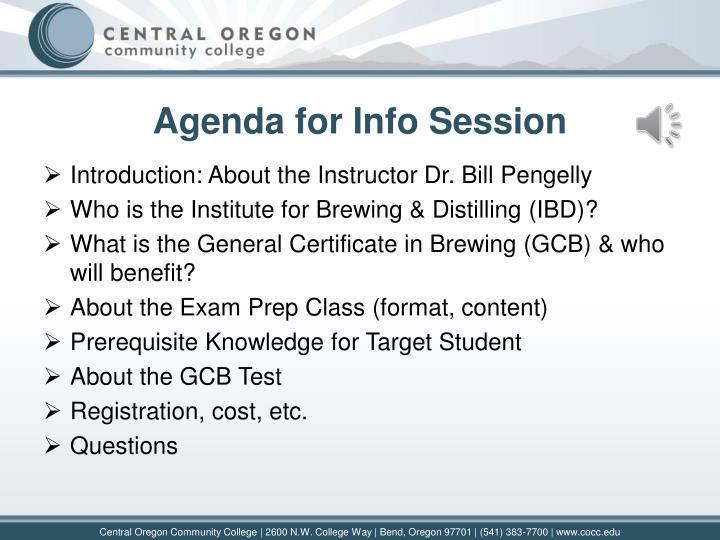 Agenda for Info Session