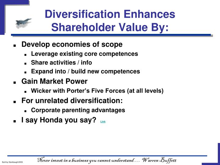 Diversification Enhances Shareholder Value By: