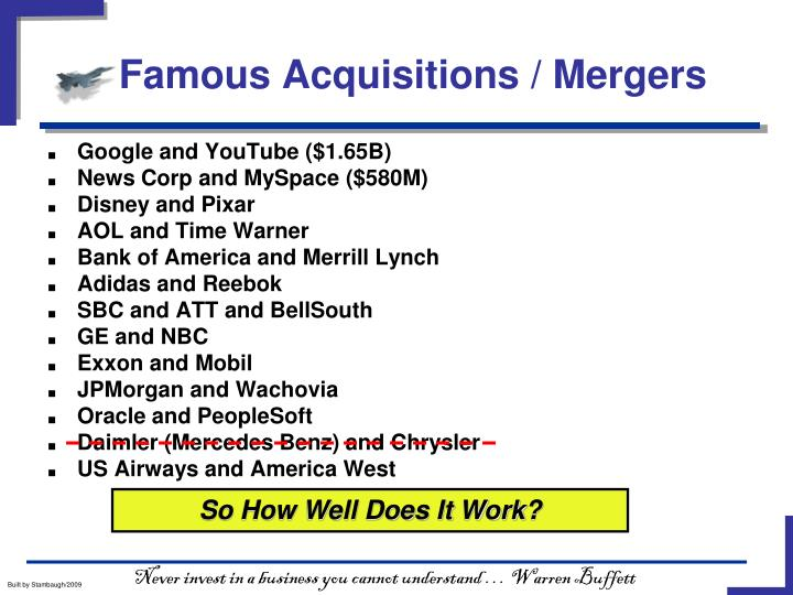 Famous Acquisitions / Mergers