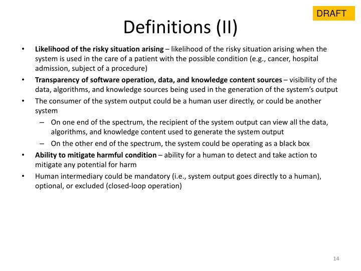 Definitions (II)