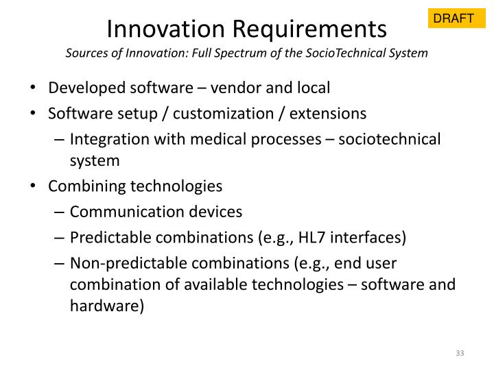 Innovation Requirements