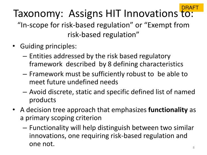 Taxonomy:  Assigns HIT Innovations to: