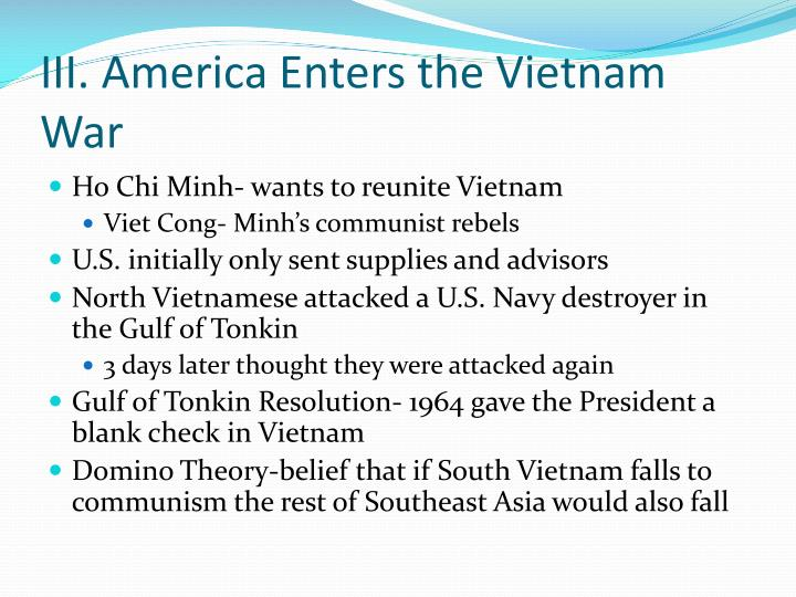 III. America Enters the Vietnam War