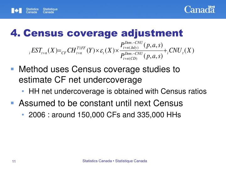 Method uses Census coverage studies to estimate CF net