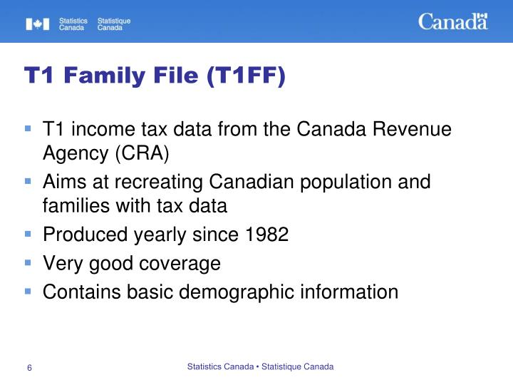 T1 income tax data from the Canada Revenue Agency (CRA)