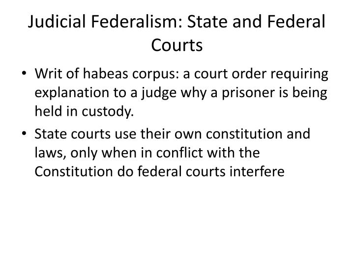 Judicial Federalism: State and Federal Courts