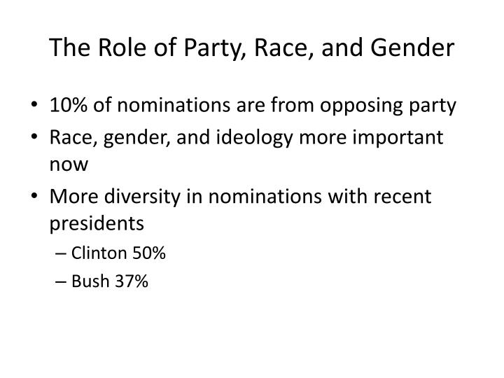 The Role of Party, Race, and Gender
