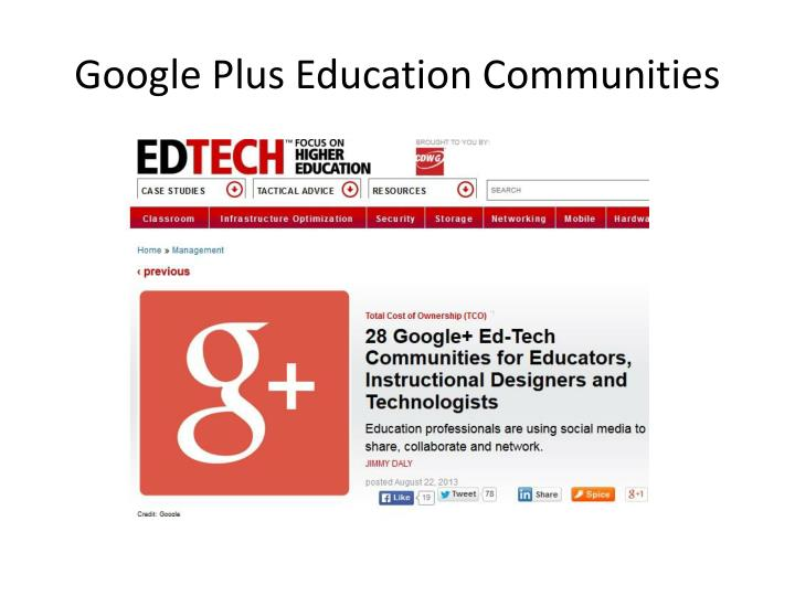 Google Plus Education Communities