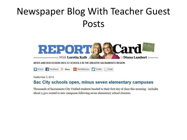 Newspaper Blog With Teacher Guest Posts