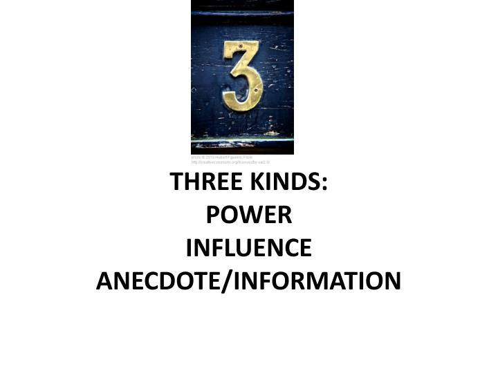 Three kinds power influence anecdote information