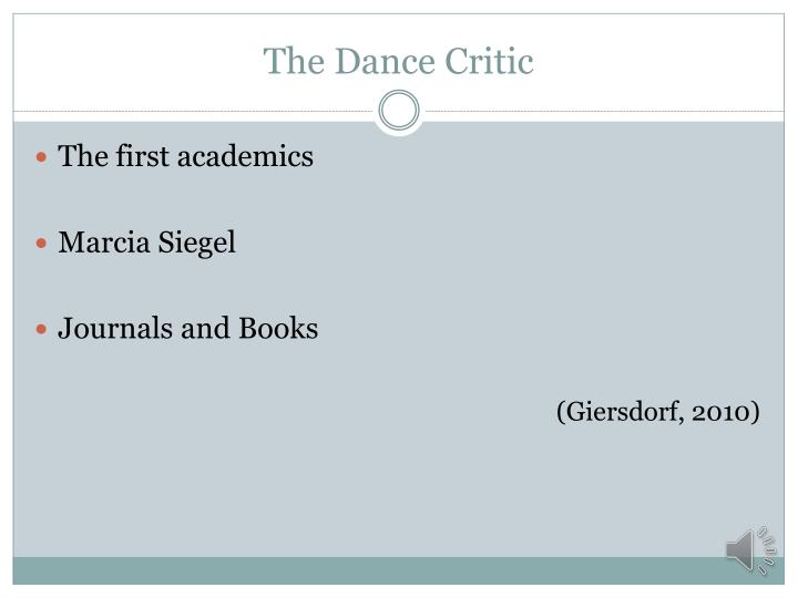The dance critic1