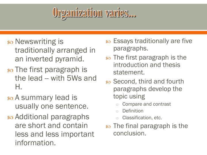 Organization varies…