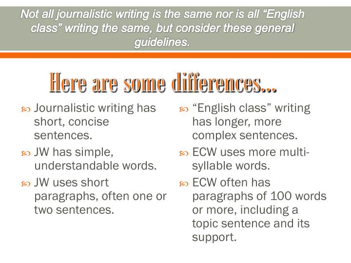 "Not all journalistic writing is the same nor is all ""English class"" writing the same, but consider these general guidelines."