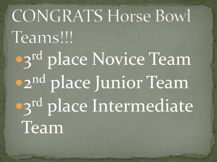 CONGRATS Horse Bowl Teams!!!