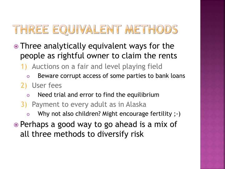 Three equivalent methods