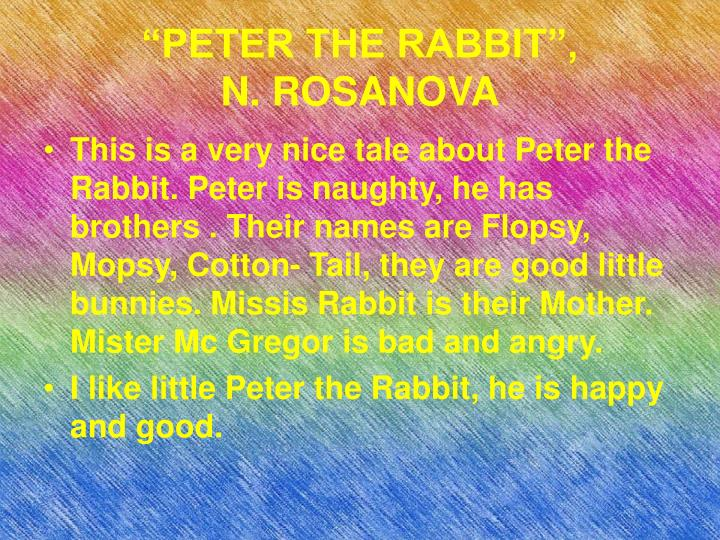 """PETER THE RABBIT"","