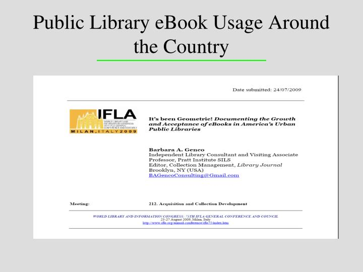 Public Library eBook Usage Around the Country