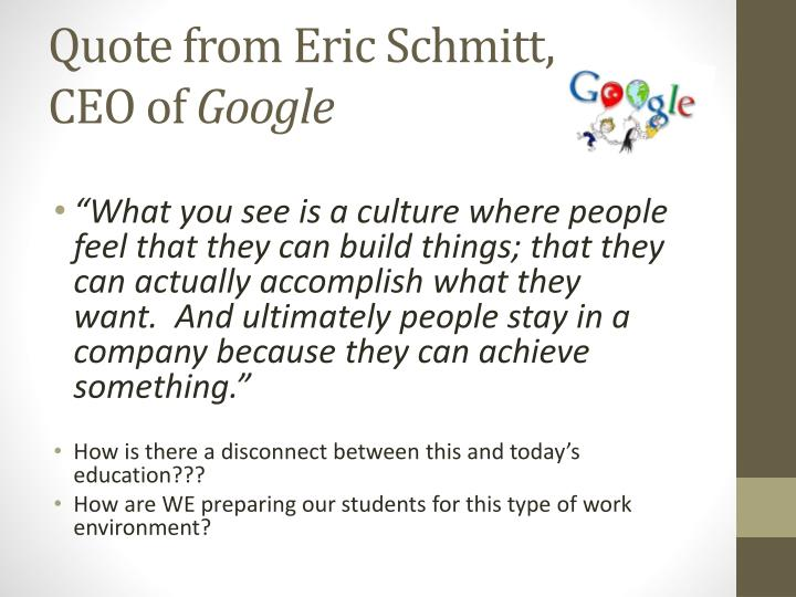 Quote from Eric Schmitt,