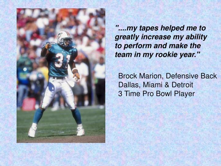 Brock Marion, Defensive Back