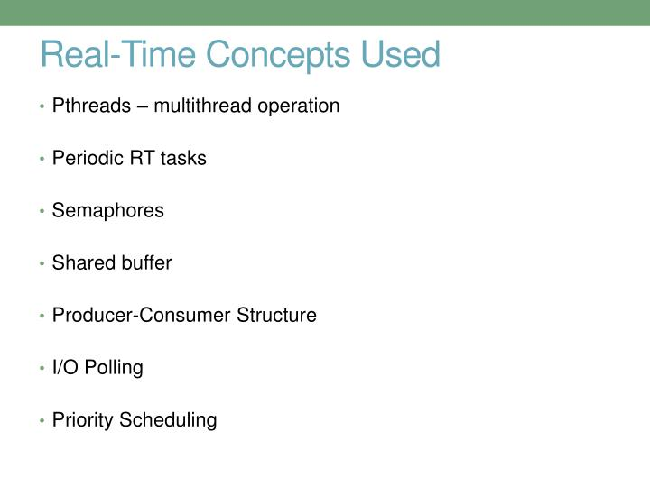 Real-Time Concepts Used