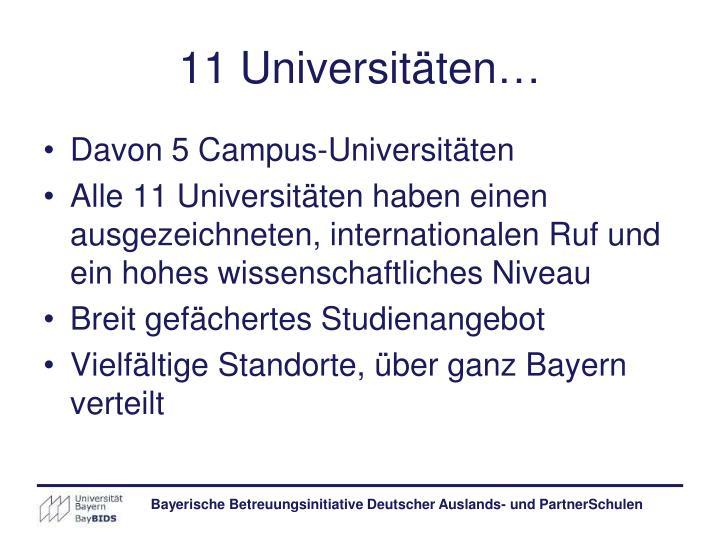 11 Universitäten…