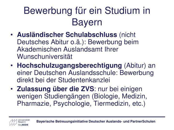 Bewerbung für ein Studium in Bayern