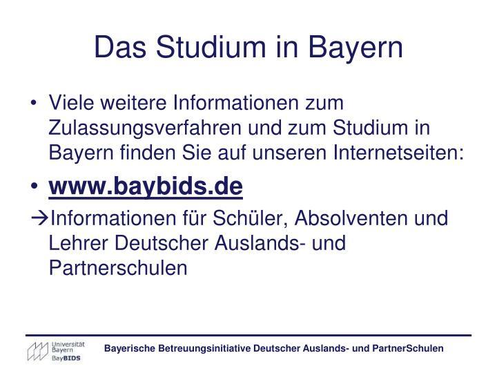 Das Studium in Bayern