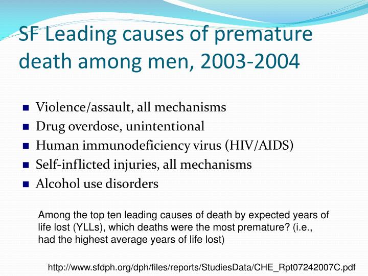 SF Leading causes of premature death among men, 2003-2004