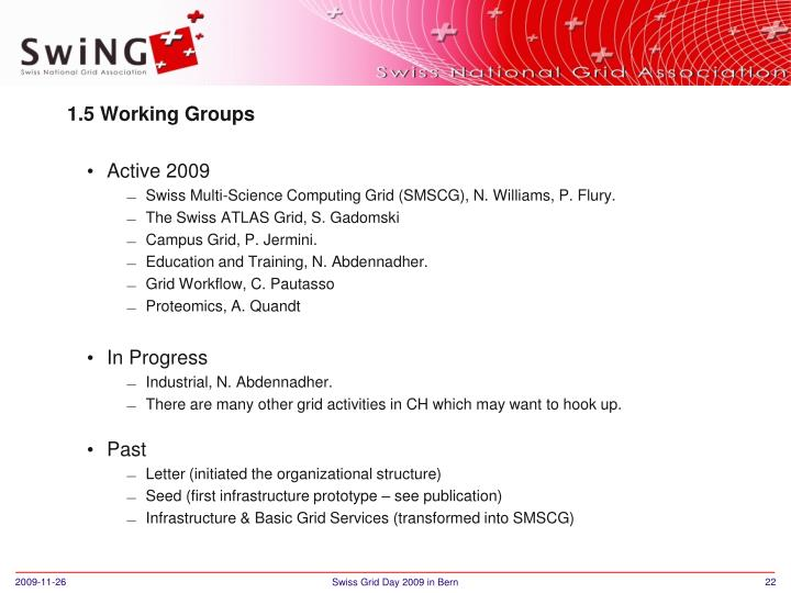 1.5 Working Groups