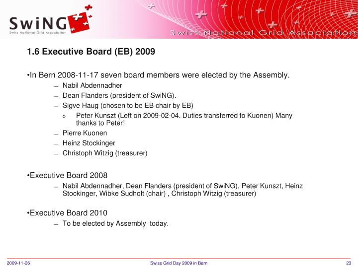 1.6 Executive Board (EB) 2009