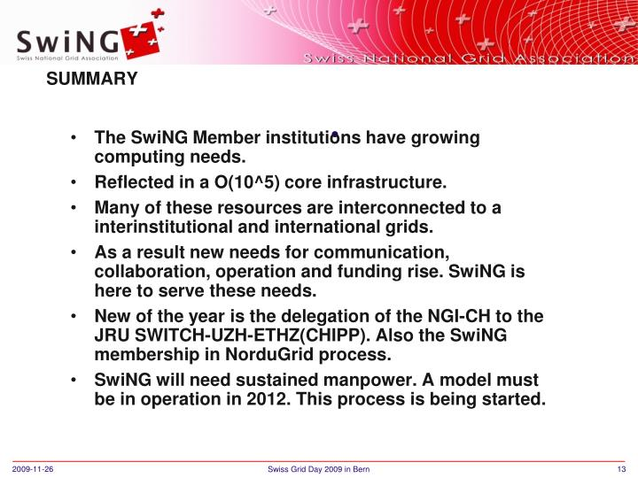 The SwiNG Member institutions have growing computing needs.