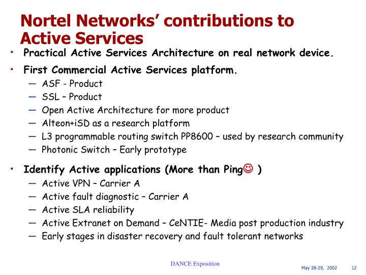 Nortel Networks' contributions to Active Services