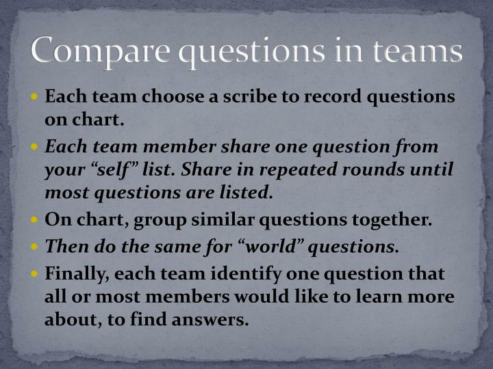 Compare questions in teams