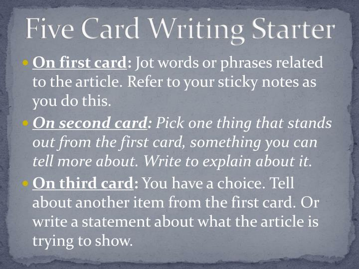 Five Card Writing Starter