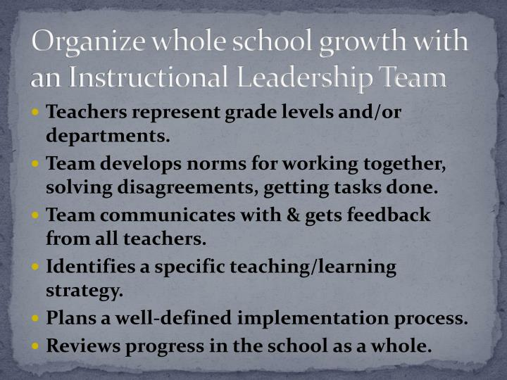 Organize whole school growth with an Instructional Leadership Team