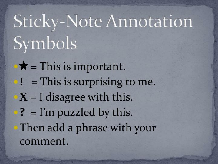 Sticky-Note Annotation Symbols