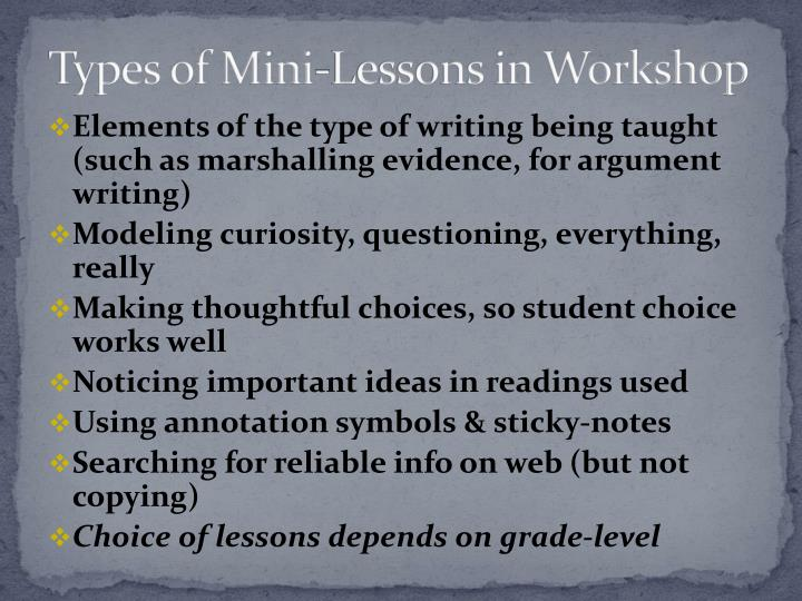 Types of Mini-Lessons in Workshop