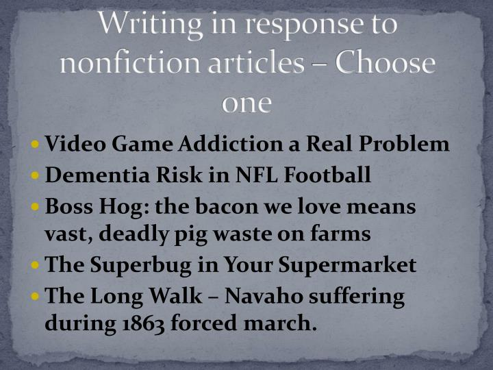Writing in response to nonfiction articles – Choose one