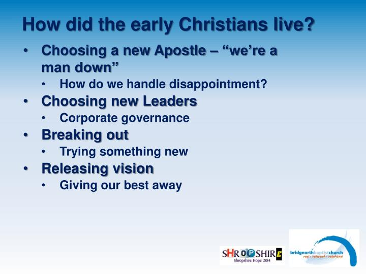 How did the early christians live