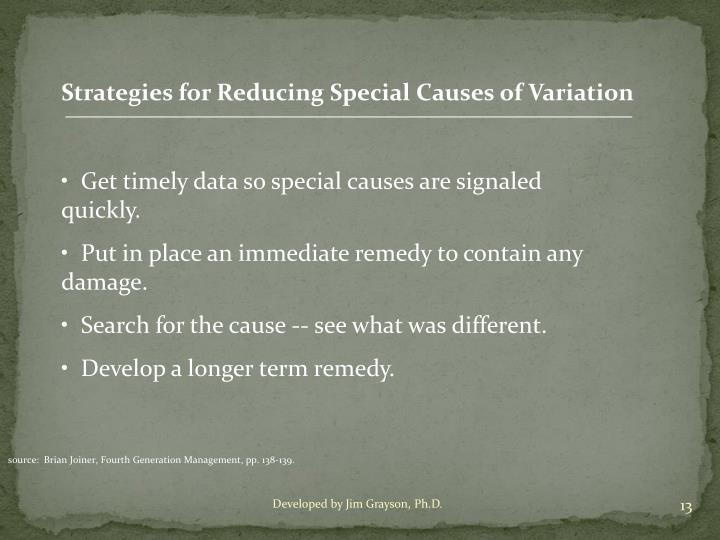 Strategies for Reducing Special Causes of Variation