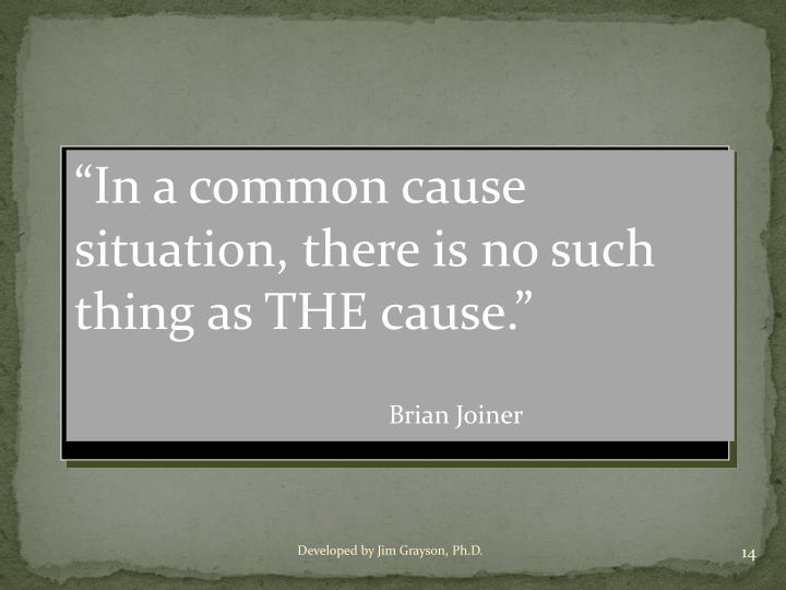 """""""In a common cause situation, there is no such thing as THE cause."""""""