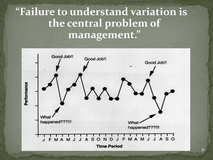 """Failure to understand variation is the central problem of management."""