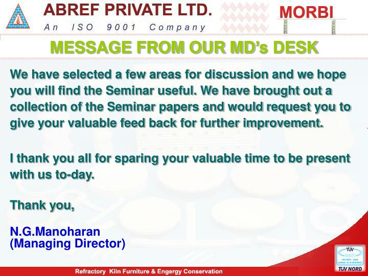 MESSAGE FROM OUR MD's DESK