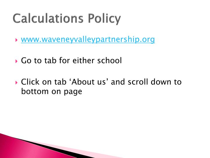 Calculations Policy